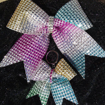 Rainbow Rhinestone Bow & Keychain Set - Cheer/Dance Ribbon
