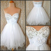 White mini sequined prom dress/homecoming dress