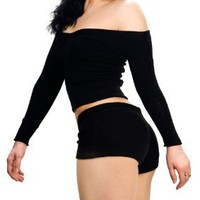 Sexy Dance 3 Pc Stretch Boy Shorts & Ballet Neck Top & Loose Knit Thigh High's