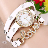 Quartz Wrist Watch Love Word Diamond Round Dial Leather Watchband