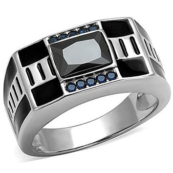 WildKlass Stainless Steel Ring High Polished (no Plating) Men AAA Grade CZ Black Diamond