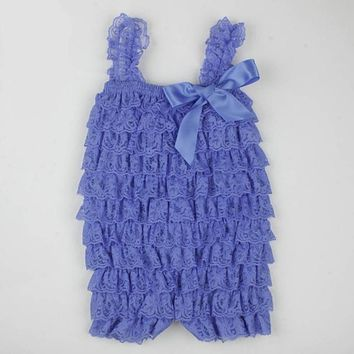 Lace Ruffle Newborn Baby Romper Colorful Straps Ribbon Bow Baby Newborn Clothes Toddler Girls Costume Sleeveless Summer