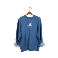Blue ADIDAS Sweatshirt Washed Out Distressed Athletic Pullover Sweater Slouchy Cotton Faded Sports Sporty Prep Workout Top Size Medium