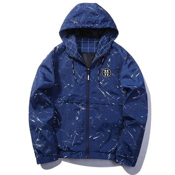 ca qiyif Black Blue Skateboard Fashion Bomber Jacket