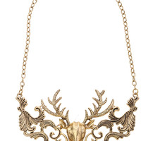 ROMWE | Deer Head Golden Necklace, The Latest Street Fashion