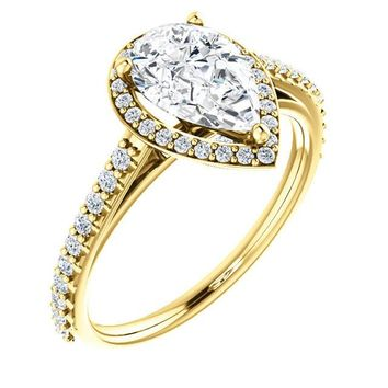 1.25 Ct Pear Halo-style Diamond Engagement Ring 14k Yellow Gold