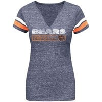 Chicago Bears Ladies D.L. III V-Neck Tri-Blend T-Shirt - Navy Blue