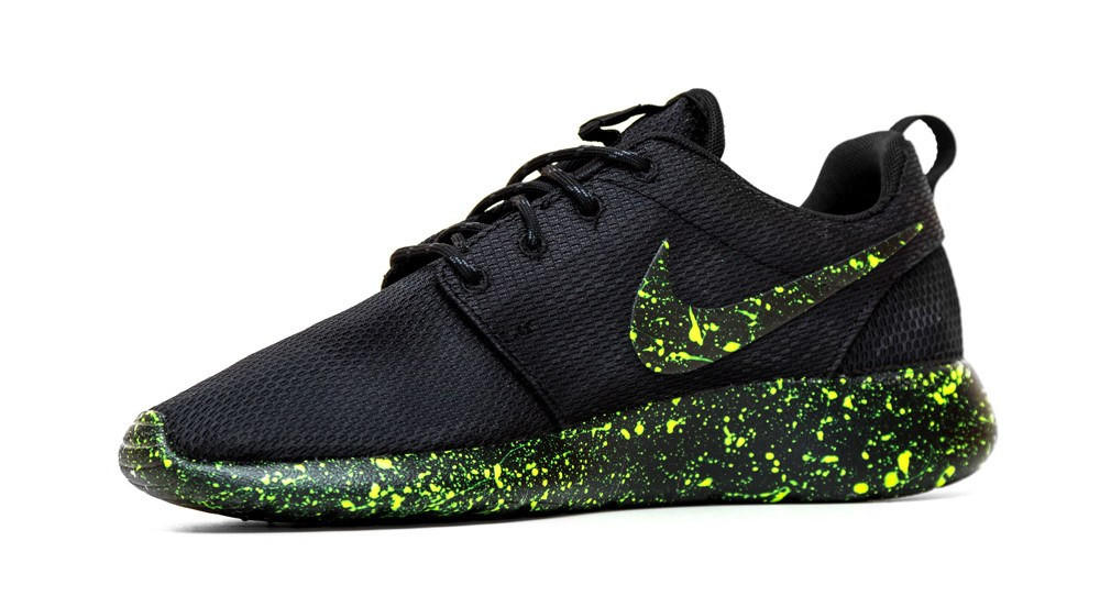 san francisco 5e5a5 44347 Nike Roshe One - Triple Black + Green Paint Color Splatter