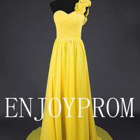 Sheath/Column One shoulder Sweetheart Chiffon  Sweep/Brush Train  Bridesmaid/Evening/Prom Dress
