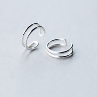 Simple silver ear clip + Gift box ALQ1026E
