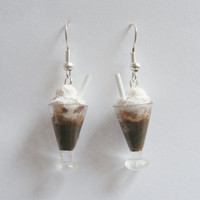Food Jewelry Ice Cream Float Miniature Food Earrings - Miniature Food Jewelry,Handmade Jewelry,Mini Food Jewelry