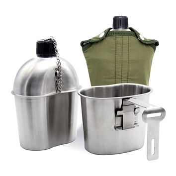 Stainless Steel Military Canteen 1L Portable with 0.5 L Cup Green Cover Camping Hiking