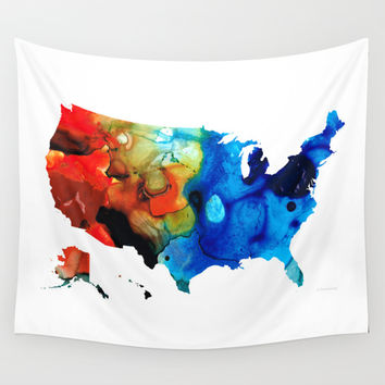 United States of America Map 4 - Colorful USA Wall Tapestry by Sharon Cummings
