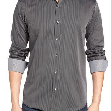 Bugatchi Shaped Fit Stripe Sport Shirt | Nordstrom