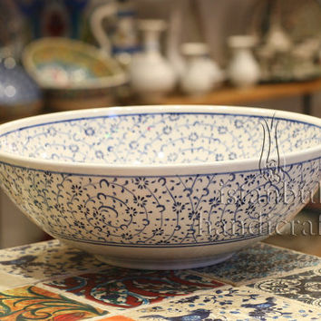 Iznik Design Handmade Ceramic Bowl - Halic - Diameter : 25cm/10''
