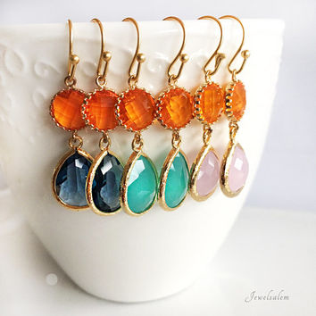 Carnelian Orange Earrings, Navy Blue, Aquamarine, Pink Rose Quartz, Wedding, Bridal Jewelry, Birthstone, Gold Filled, Bridesmaids Gift