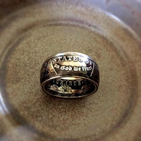 Morgan Dollar Silver Coin Ring Double Sided Vintage Men's Ring
