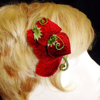 Red velvet strawberry fascinator hair clip