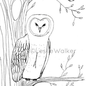 Owl in Tree Coloring Page Digital Download