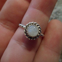 Authentic Navajo,Native American,Southwestern sterling silver beaded gear band rainbow moonstone ring.Size 7 3/4.