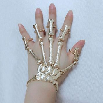 Halloween Props Gift Fun Nightclub Party Punk Bracelet Gothic Skeleton Bone Hand Finger Bracelet LL@17