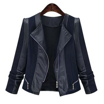 kenancy Plus Size Chic Zippers Faux Leather Patchwork Jacket For Women Coat Autumn Jackets Slim Coats Female Womens Outwear 2018