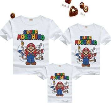 PEAPUNT T shirts family matching outfits clothing mother & kids blouse shirt mario summer cartoon for daughter father clothes son tees