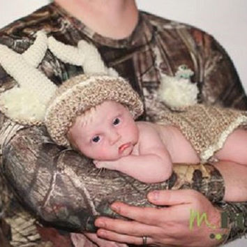 Crochet Super Soft White Tail Deer Photo Prop for Baby