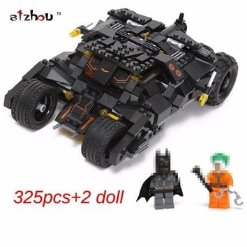 Batman Dark Knight gift Christmas 325pcs new Comics Super Heroes Batman series The Tumbler car model Building Blocks classic Compatible Legoed Toy Set AT_71_6