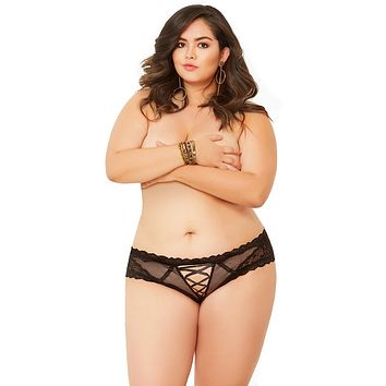 Sexy House of Cards Lace and Net Lace-Up Keyhole Plus Size Panty