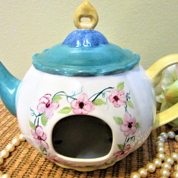 Birdhouse Victorian Teapot Porcelain Ceramic Pottery Hanging Hand Painted blm