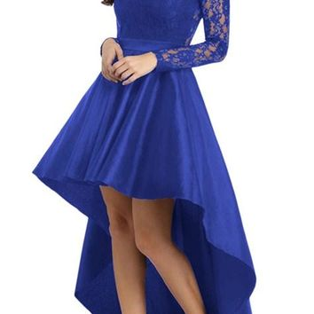 Royal Blue Lace Long Sleeve High Low Satin Prom Dress