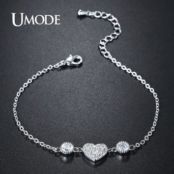 UMODE New Fashion Jewelry Link Chain Bracelets for Women Cute Heart CZ Crystal Engagement Gifts Pulseira Feminina Bijoux UB0119B