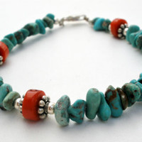 """Turquoise Coral Bracelet Sterling Silver Nugget Beads 7.5"""" Vintage Jewelry"""