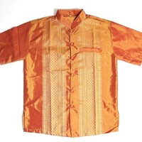 MEN CAMBODIA/THAILAND TRADITIONAL ORANGE DRESS SHIRT, BRAND-NEW, SIZE LARGE