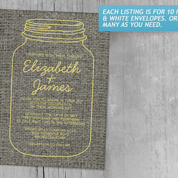 Yellow Rustic Burlap Mason Jar Wedding Invitations | Invites | Invitation Cards