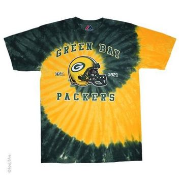 DCCKG8Q NFL Green Bay Packers Spiral Tie-Dye T-Shirt