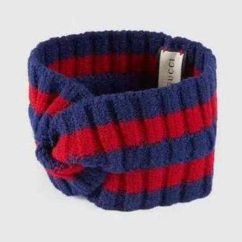 Kalete GUCCI Trending Knit Stripe Print Headwrap Headband Warmer Head Hair Band Blue Red