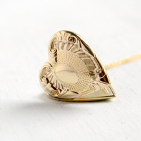 Vintage Gold Filled Heart Locket Necklace- 1940s WWII Era Sweetheart Vine Repousse Jewelry