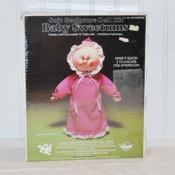 Baby Sweetums Soft Sculpture Doll Kit (c.1977), Create a 16 inch Soft And Cuddle Doll, Valiant Crafts, Vintage Handmade Doll Kit, Gift Idea