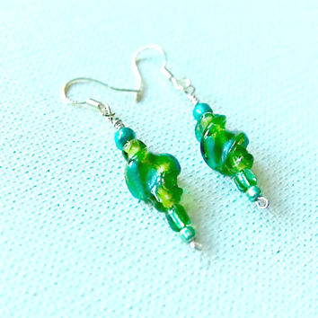 On Sale Green Glass Earrings, Green and Blue Minimalist Earrings on Silver wires, Free Shipping on Silver and Green Lampwork Glass Earrings,