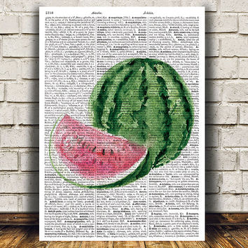 Watermelon poster Watercolor print Fruit print Kitchen decor RTA1519