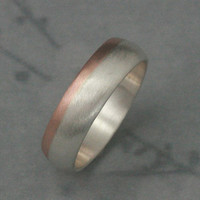 Solid 14K Rose Gold and Silver Rounded Wedding Band--Two Tone Wedding Ring--Modern Men's Band