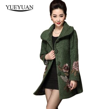 2017 New Women Winter Thick Long Coat Retro Embroidered Woolen Coat Female Thicken Wool Jacquard Patterns Floral Coat Plus Size