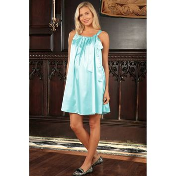 Women's Light Blue Charmeuse Halter Swing Chic Party Dress - Women Maternity