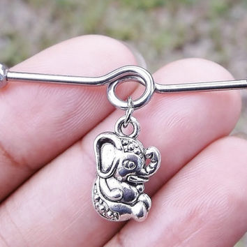 Industrial barbell 14 gauge stainless steel cute baby elephant