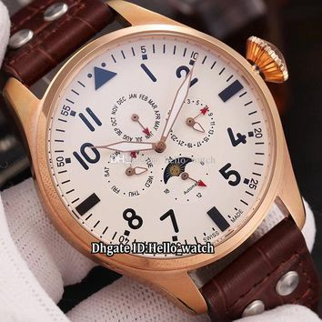 New IW503801 Rose Gold Case Perpetual Calendar Complex Functions Moon Phase White Dial Automatic Mens Watch Leather Strap Sport Watche
