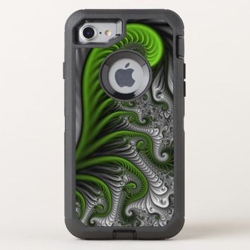 Fantasy World Green And Gray Abstract Fractal Art OtterBox Defender iPhone 8/7 Case