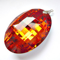 Oval Pendant, oval crystal, focal pendant, focal crystal, big crystal, huge crystal, oversized crystal, Faceted, fire diamond, Huge, Crystal