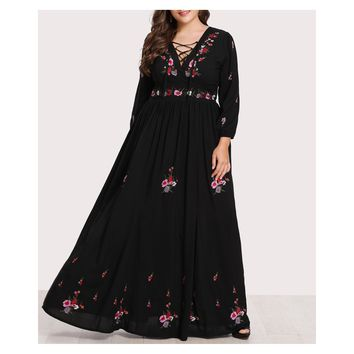 Black Floral Embroidered Lace Up Long Sleeve Maxi Dress